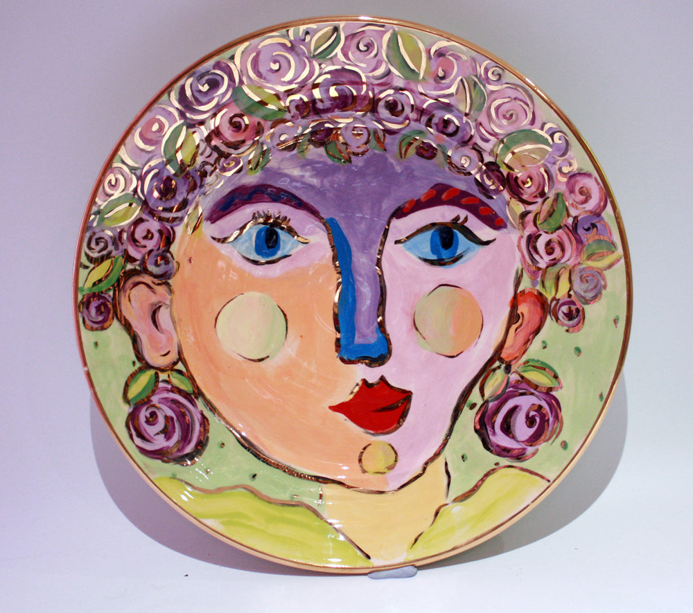 "Faces Dinner Plate ""Violet"" - MaryRoseYoung"