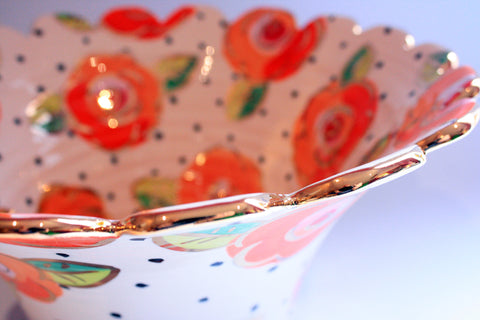 "Large Fluted Salad Bowl ""Tangerine Roses on Polka Dots"" - MaryRoseYoung"