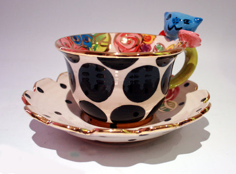 """Alice in Wonderland"" Cheshire Cat Cup and Saucer - MaryRoseYoung"