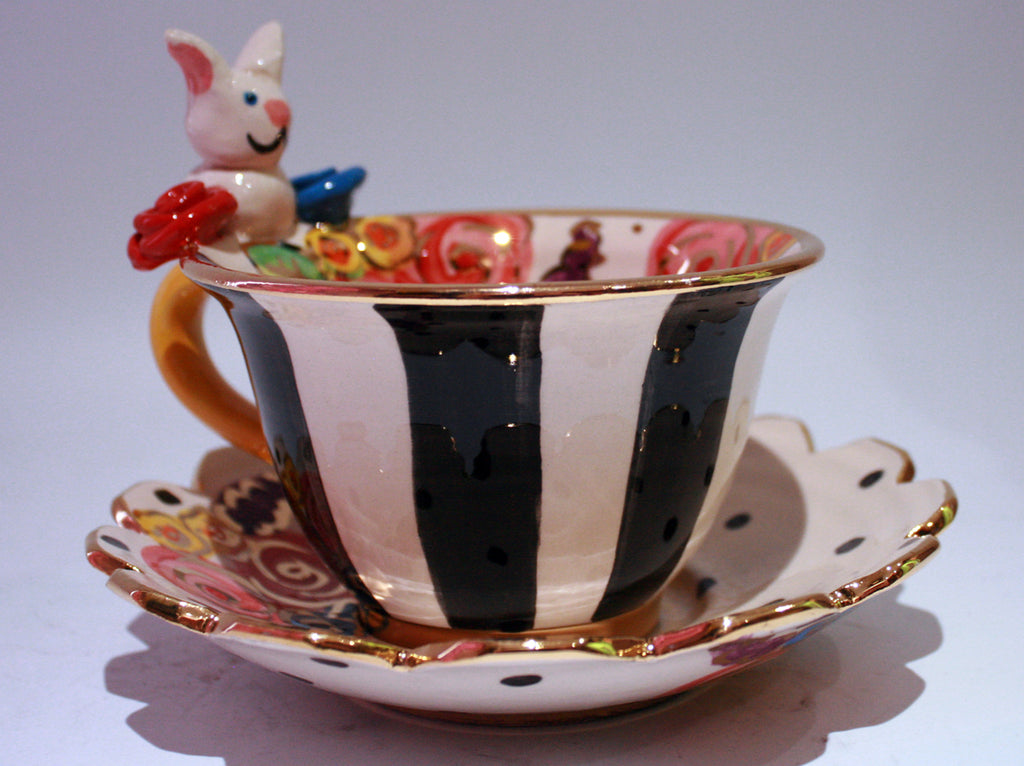 """Alice in Wonderland"" White Rabbit Cup and Saucer - MaryRoseYoung"