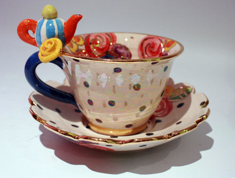 """Alice in Wonderland"" Teapot Cup and Saucer - MaryRoseYoung"