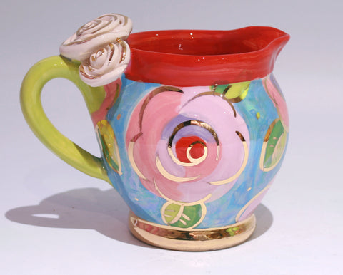 Small Barrel Jug in Gold New Rose on Blue