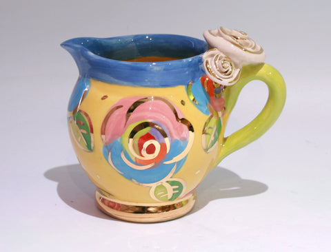 Small Barrel Jug in Gold New Rose on Yellow