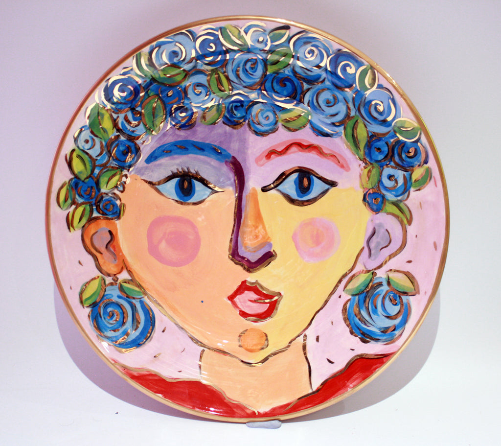 "Faces Dinner Plate ""Poppy"" - MaryRoseYoung"