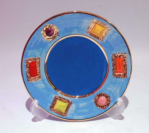 Blue Jewelled Tea Plate - MaryRoseYoung
