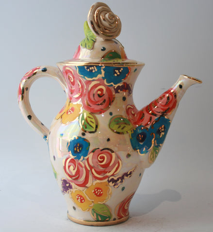 Coffee Pot in Vintage Floral - MaryRoseYoung
