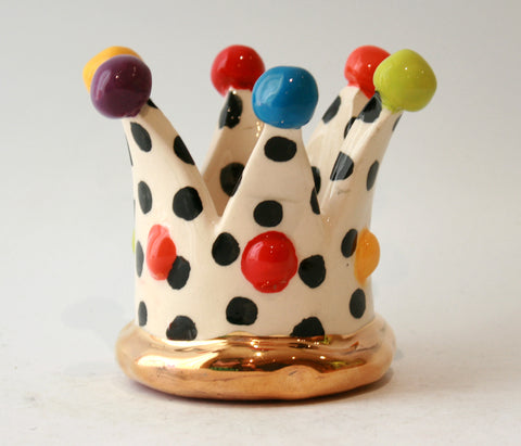 Crown Candleholder in Polka Dot