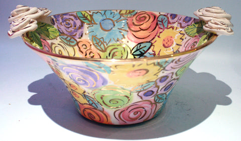 "Medium Rose Edged Serving Bowl ""Pastel Blooms"" - MaryRoseYoung"
