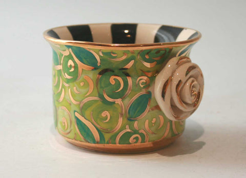 Rose Studded Tea Light Holder in Green Rosebush