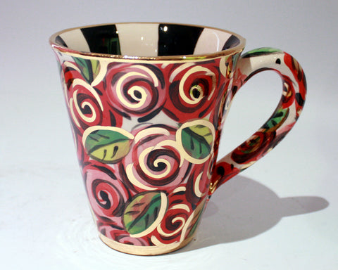 Large Mug with New Red Rosebush - MaryRoseYoung