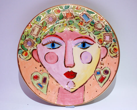 "Faces Dinner Plate ""Emerald"" - MaryRoseYoung"