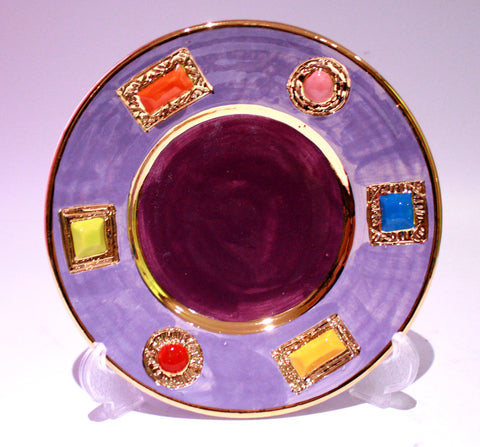Purple Jewelled Tea Plate - MaryRoseYoung