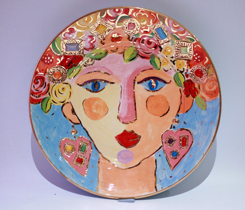 "Faces Dinner Plate ""Sapphire"" - MaryRoseYoung"