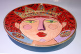 "Faces Dinner Plate ""Scarlet"" - MaryRoseYoung"