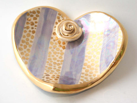Heart Shaped Soap Dish in Gold Confetti and Lilac Stripe - MaryRoseYoung