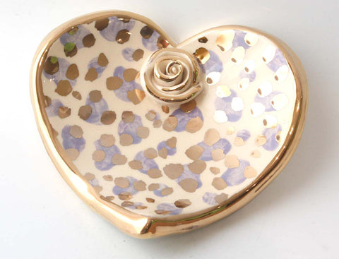 Heart Shaped Soap Dish in Lilac and Gold Leopard - MaryRoseYoung