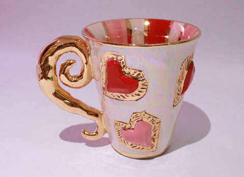 Heart Jewelled Mug with Lady Gaga Handle - MaryRoseYoung
