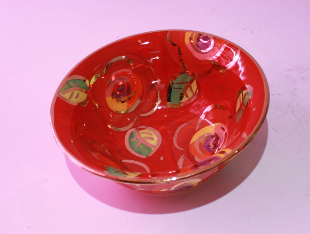 Cereal Bowl Gold New Rose Red - MaryRoseYoung