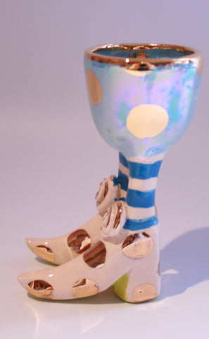 Egg Cup with Pale Blue and Gold Dots - MaryRoseYoung