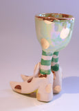 Egg Cup with Pale Green and Gold Dots - MaryRoseYoung