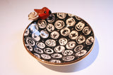 Robin Edged Saucer Black and White - MaryRoseYoung