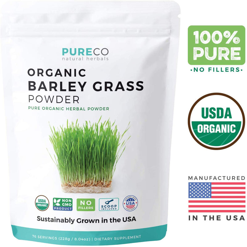 Pure Co Organic Barley Grass Powder (8 oz) - USA Grown - Vegan Super food Supplement Perfect for Juice or Smoothie - Rich in Antioxidants, Fiber, Protein, Enzymes & Chlorophyll - Non-GMO - 75 Servings