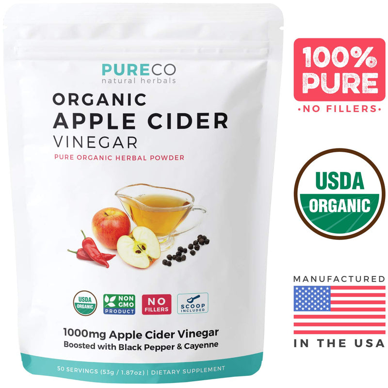 Pure Co USDA Organic Apple Cider Vinegar (Powder) with Black Pepper + Cayenne for Better Absorption & Metabolism Boost - Detox, Diet & Weight Loss ACV Supplement - 50 Servings: No Capsule Pills