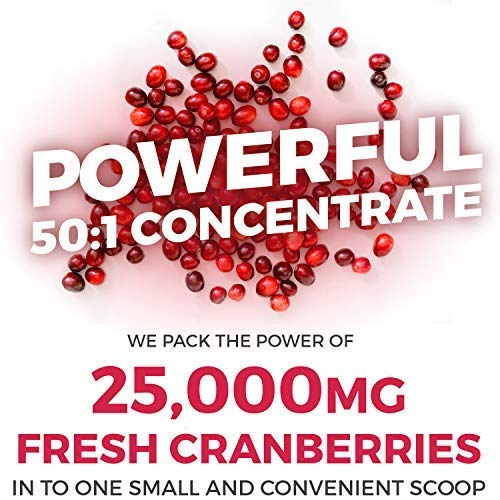 Pure Co USDA Organic Cranberry Concentrate (50:1) Powder - 500mg is Equivalent to 25,000mg Fresh Cranberries - Kidney Cleanse UTI Support Vitamins - Fruit Extract Supplement - 100 Servings: No Pills