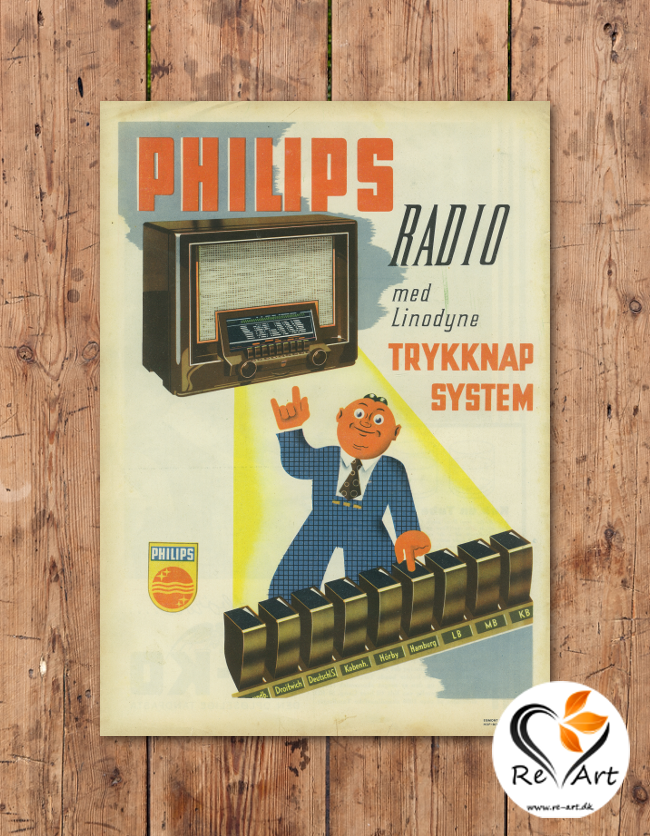 Radio med Linodyne Trykknap System (Philips) - re-art