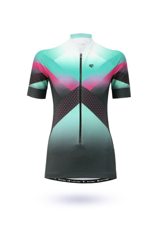 Digital Cycling Jersey Womens - Navy Blue/White
