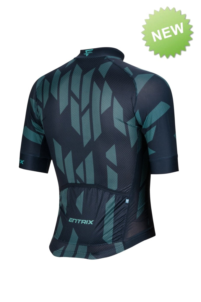 Digital Cycling Jersey Mens - Navy Blue/Green - ENTRIX