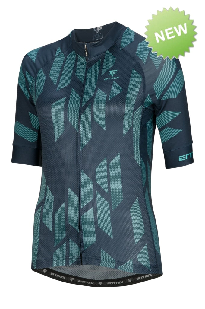 Digital Cycling Jersey Womens - Blue/Green - ENTRIX