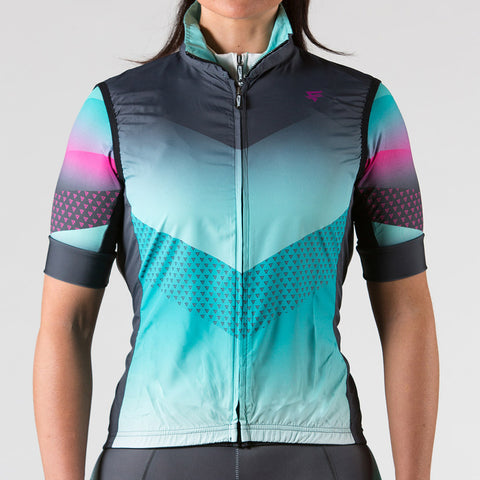 Digital Cycling Jersey Womens - Blue/Green