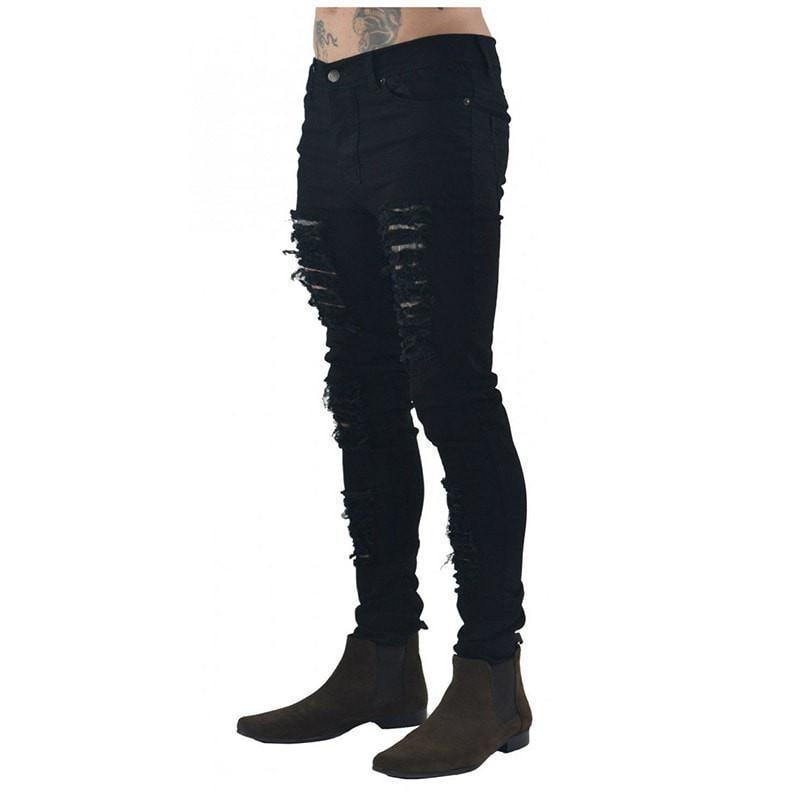 Biker Black Skinny Ripped Jeans - Umension