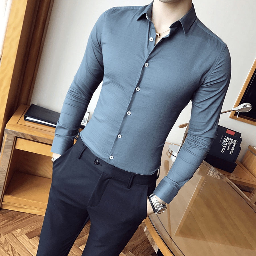 British Slim Fit Solid Shirt - Umension