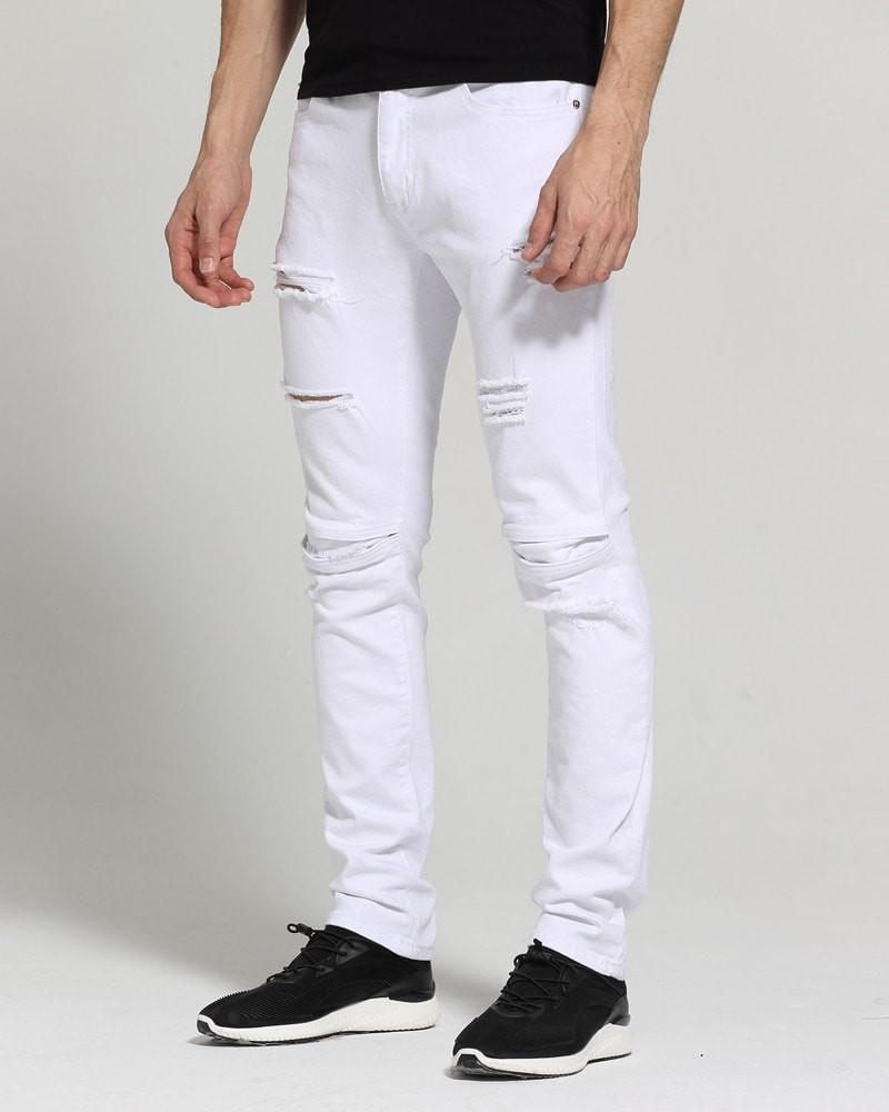 Classic White Skinny Ripped Jeans - Umension