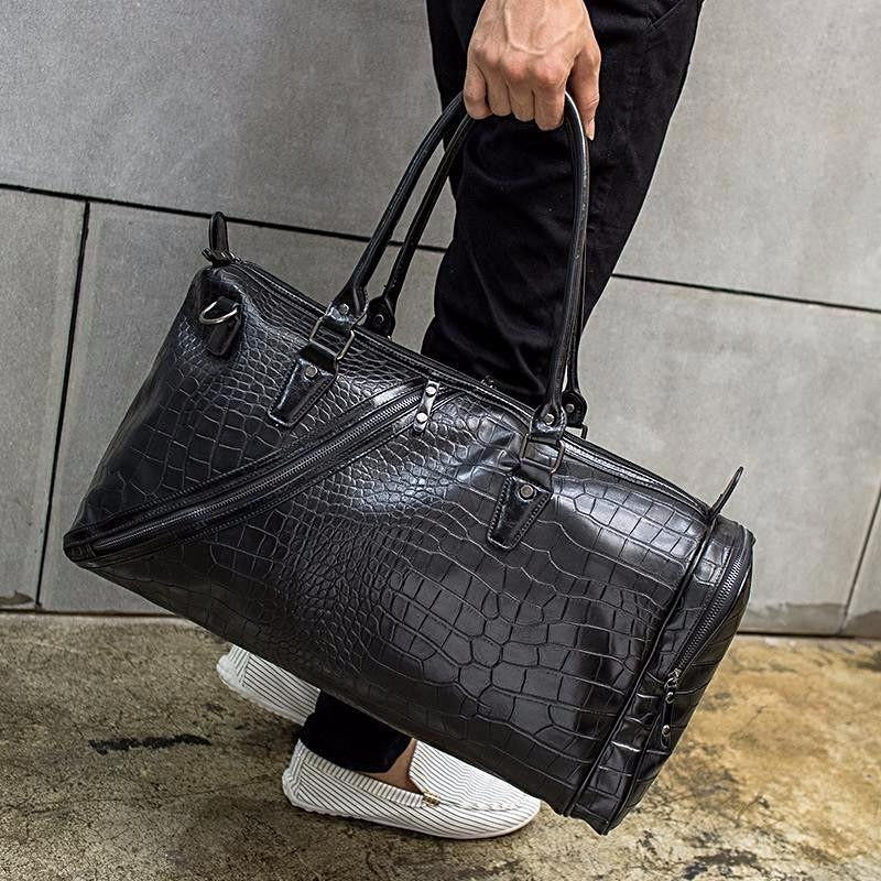 Faux Crocodile Leather Weekender Bag - Umension