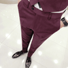 Slim Fit Burgundy British Pant - Umension