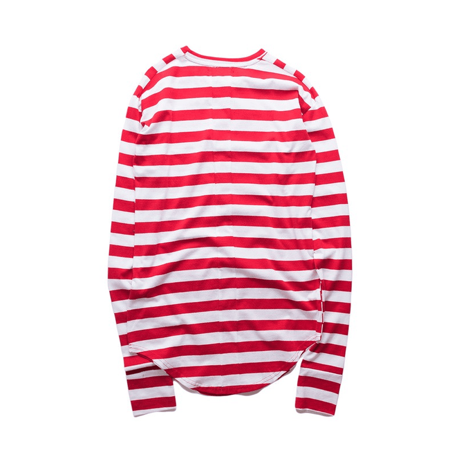 Striped Curved Hem T-Shirt - Umension