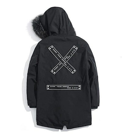 'X' Hooded Faux Fur Coat - Umension