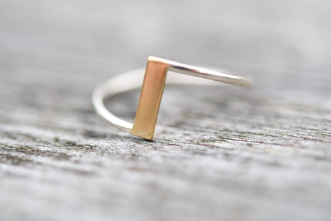 two tone bar ring, gold and silver ring, argentium ring, solid gold ring, eco friendly gold ring, stockholm rose designs