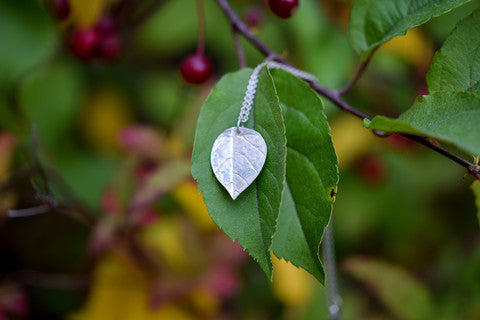 leaf necklace, eco friendly, stockholm rose designs, silver clay necklace,