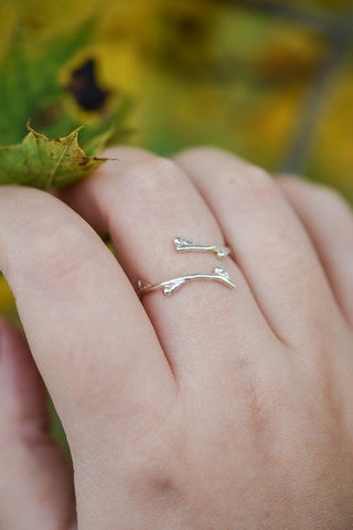 twig ring, stockholm rose designs, eco friendly twig ring, argentium silver