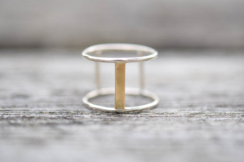 gold and silver ring, two tone ring, gold bar ring, handmade, stockholm rose designs