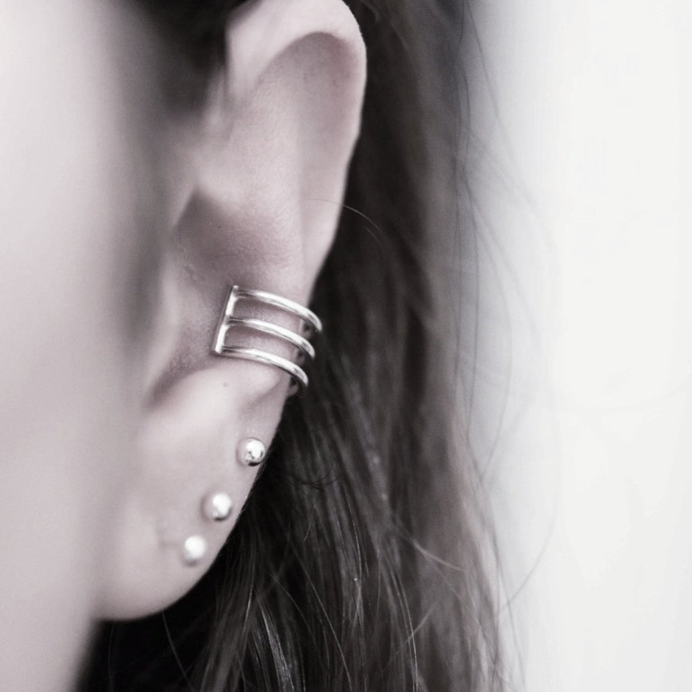 Bar Ear Cuff (Silver and Gold) - Stockholm Rose Designs - Eco Friendly Jewellery