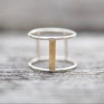 Gold Double Bar Ring - Stockholm Rose Designs - Eco Friendly Jewellery