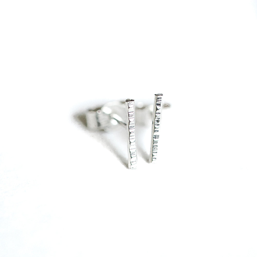 Hammered Bar Earrings | Sterling Silver