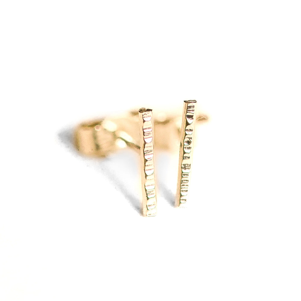 rose gold bar earrings 18ct recycled rose gold