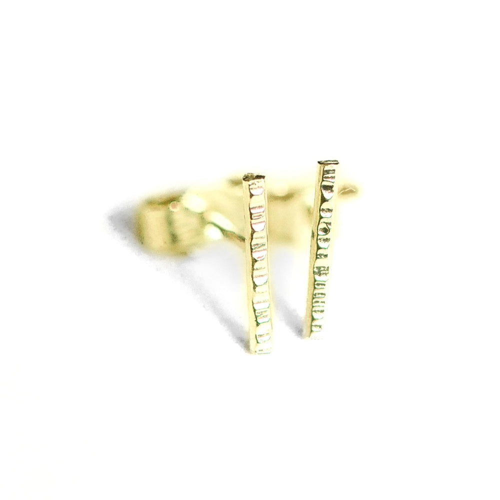 Hammered Bar Earrings | 18ct Yellow Gold