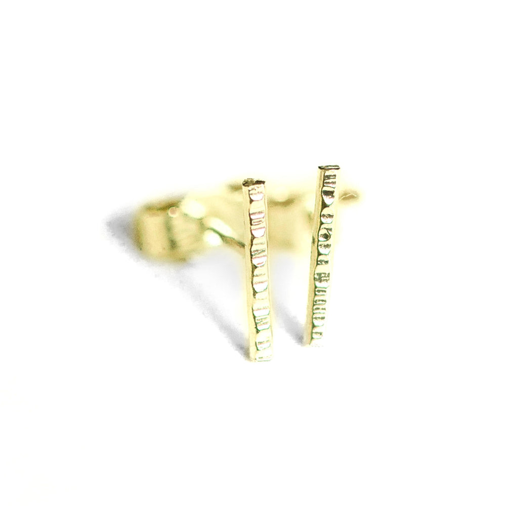 18ct recycled gold bar earrings dainty little earrings